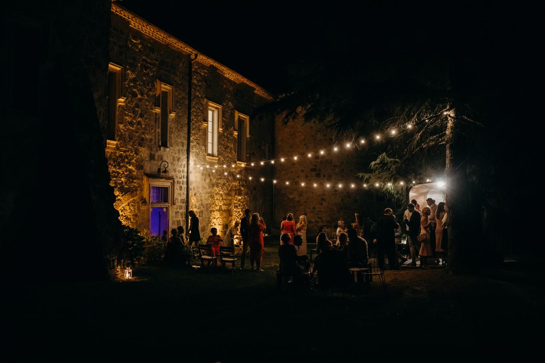 chateau de lisse terrace lit up with fairy lights