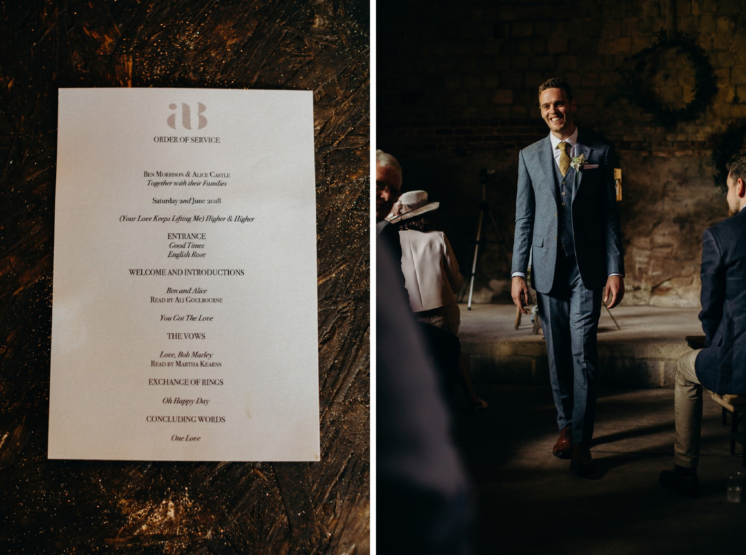 groom smiling at guests before the ceremony