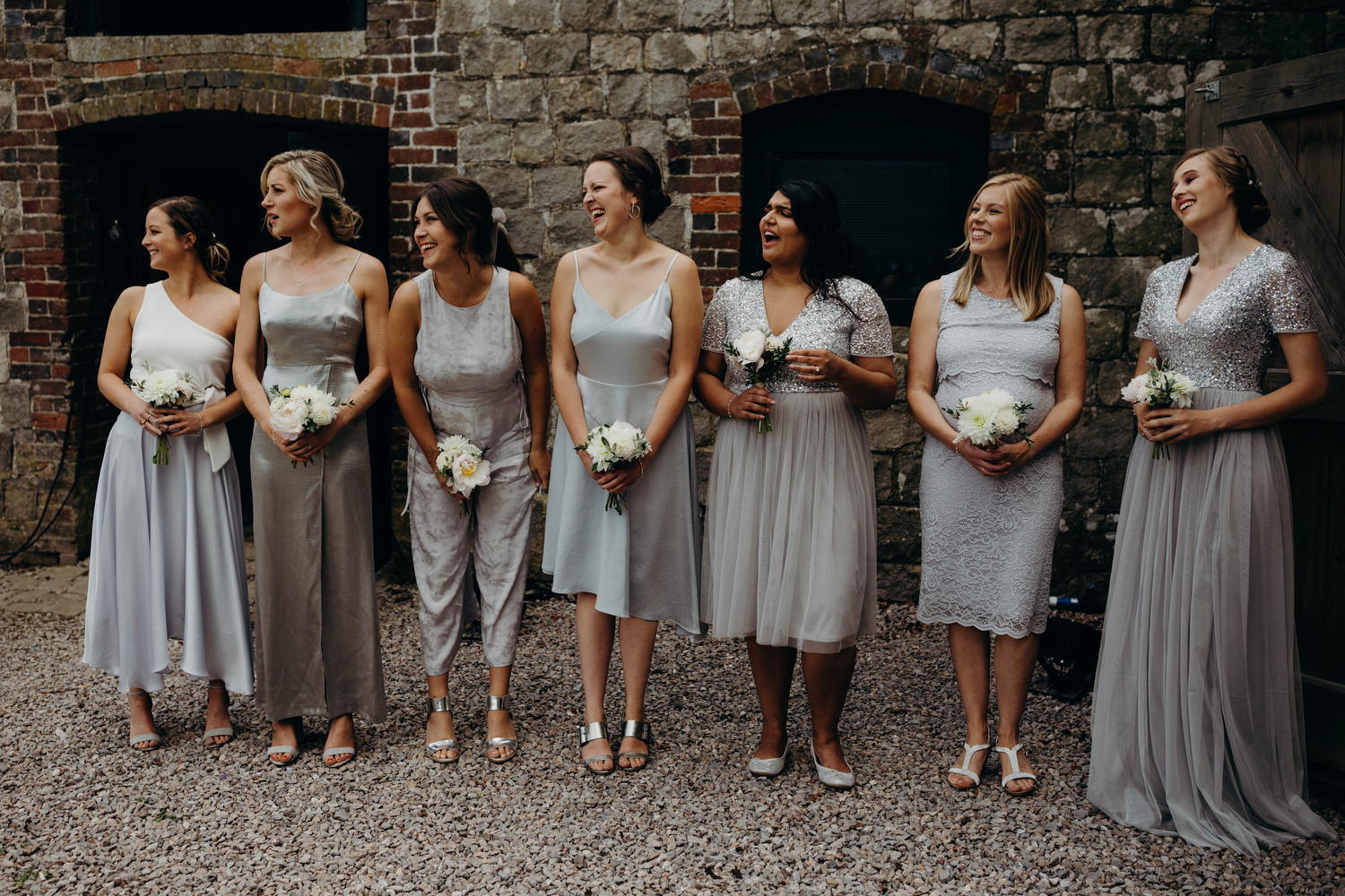 bridesmaids seeing for bride arrive