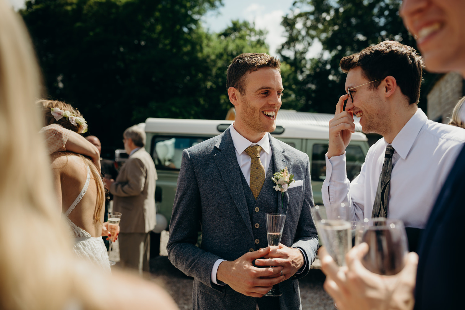groom chats to guest