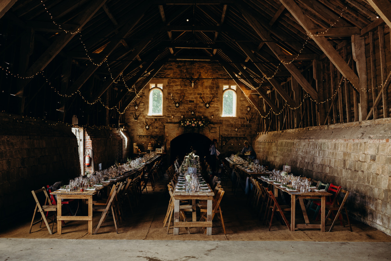 Wiltshire barn wedding tables