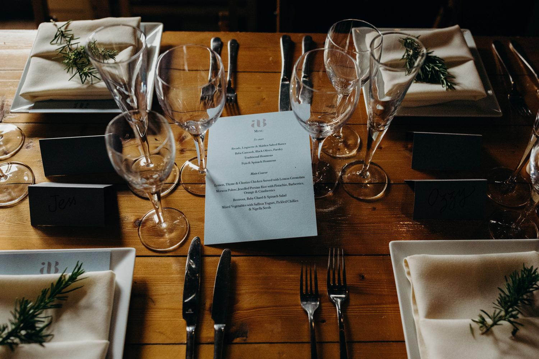 wedding dinner menu layout