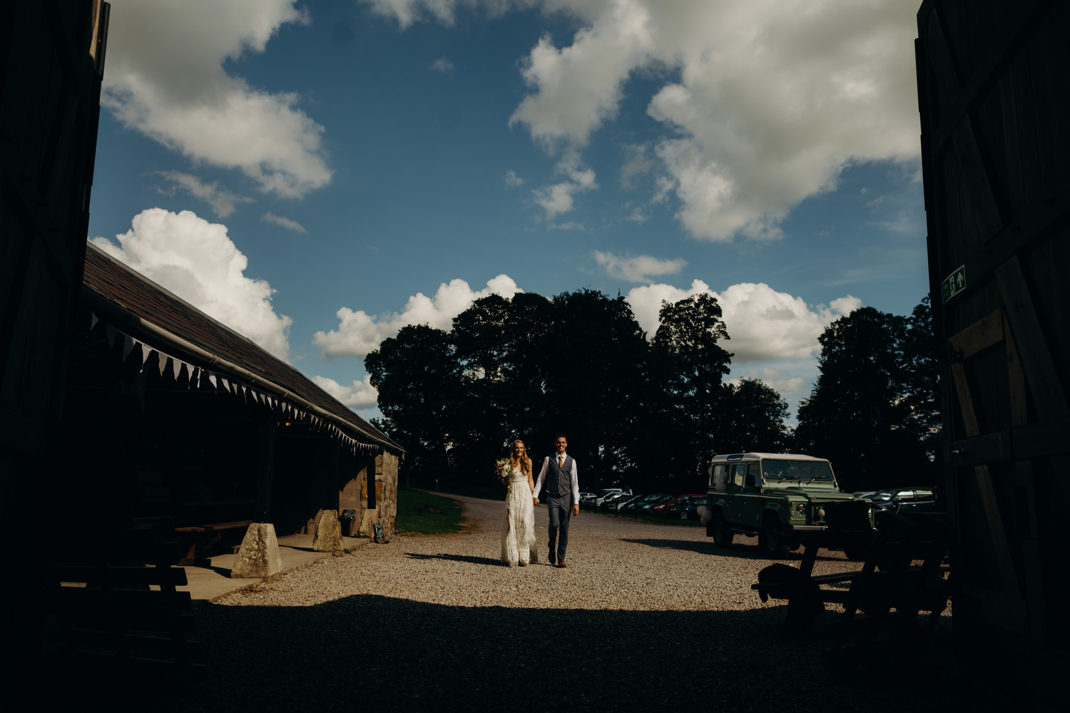 bride and groom entrance at wick bottom barn