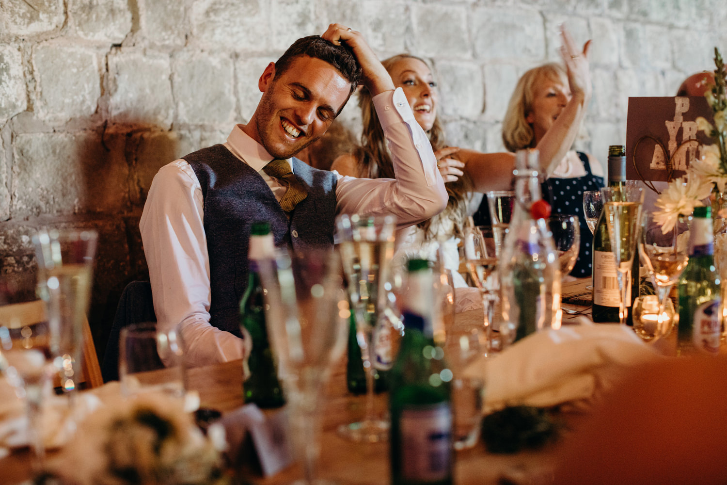 groom getting roasted during speeches