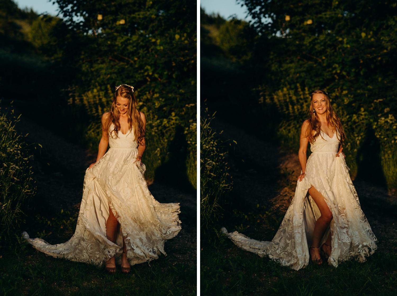 bride dances during portraits