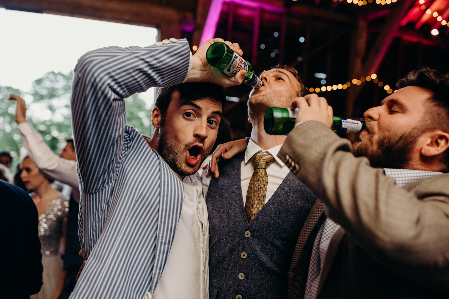 drinking at wedding party