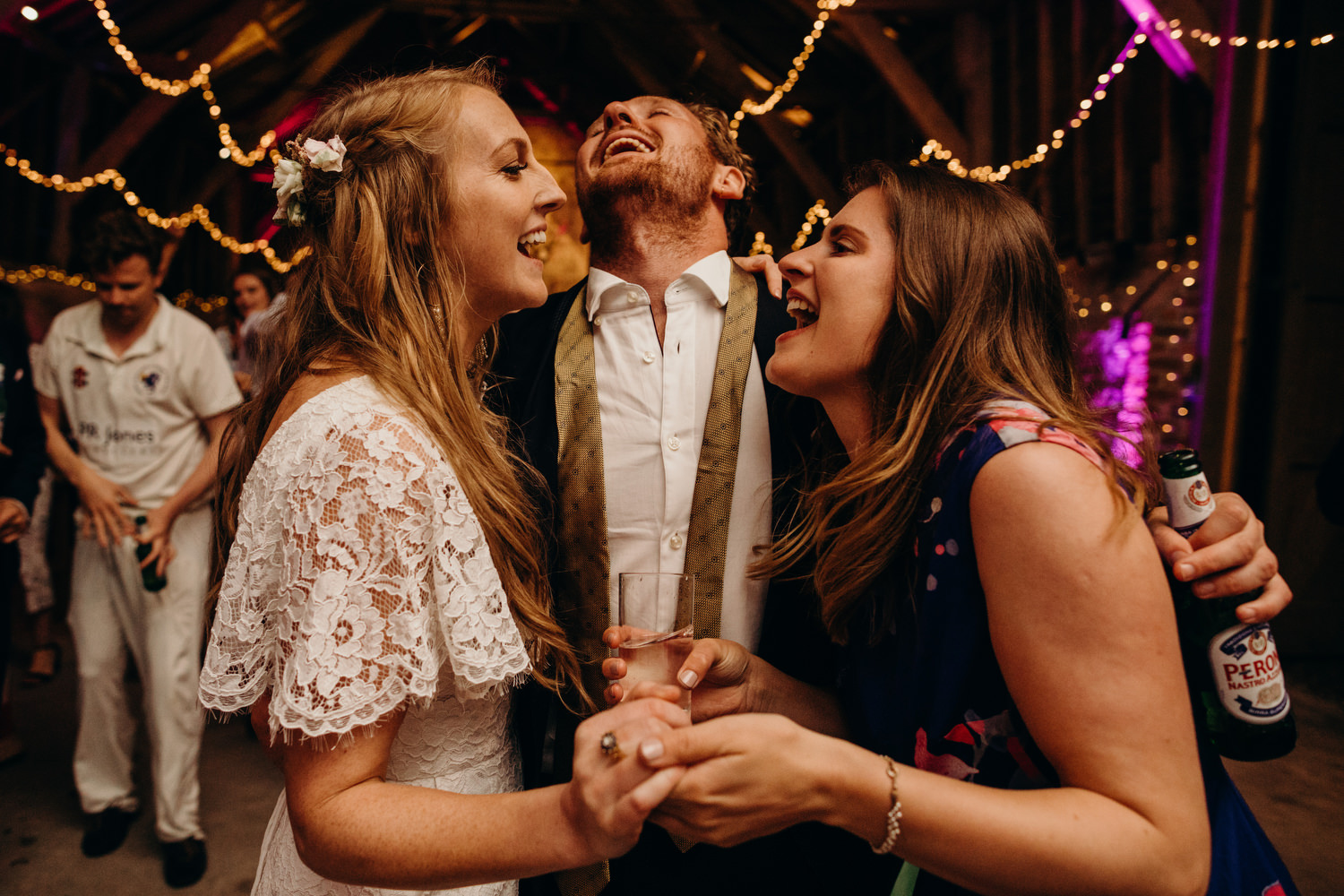 bride singing with guests