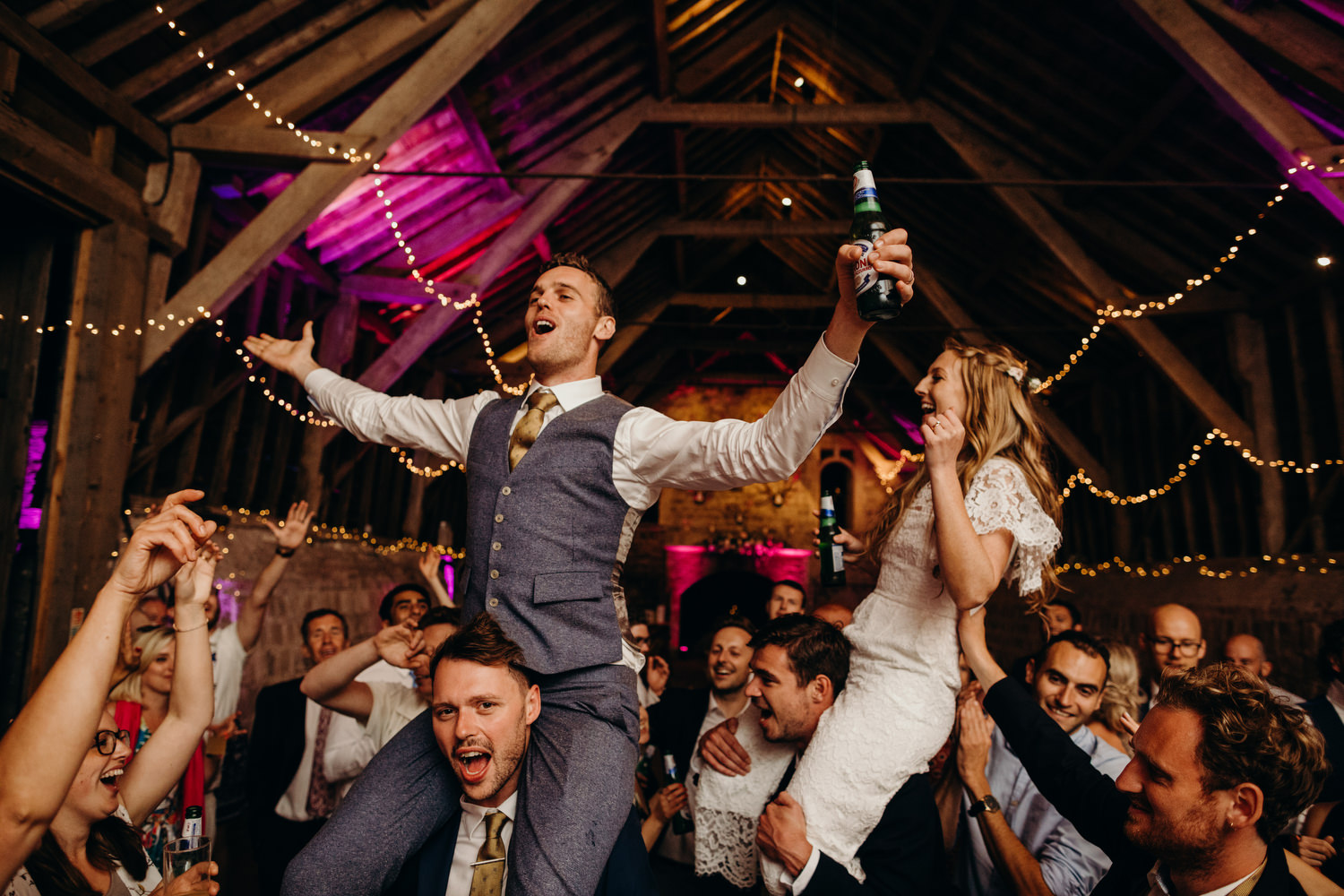 bride and groom at wick bottom barn