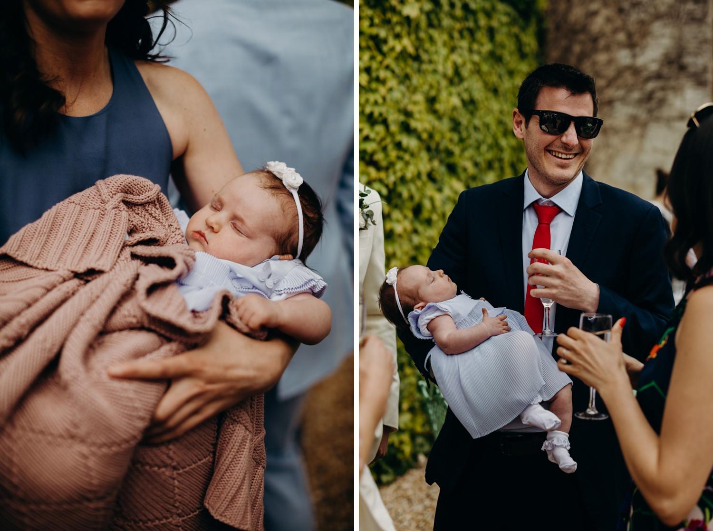 baby sleeps at wedding