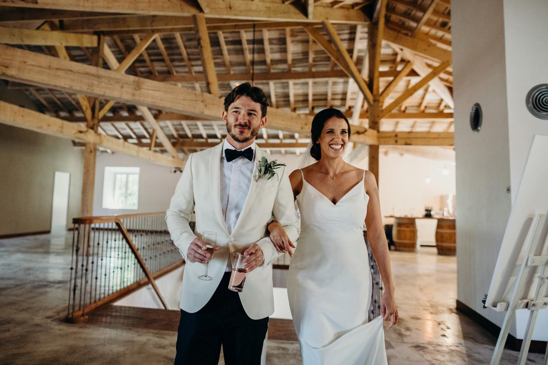 bride and groom entrance at le mas de montet