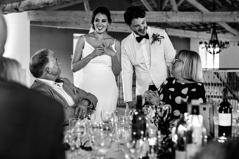 bride and groom during wedding breakfast