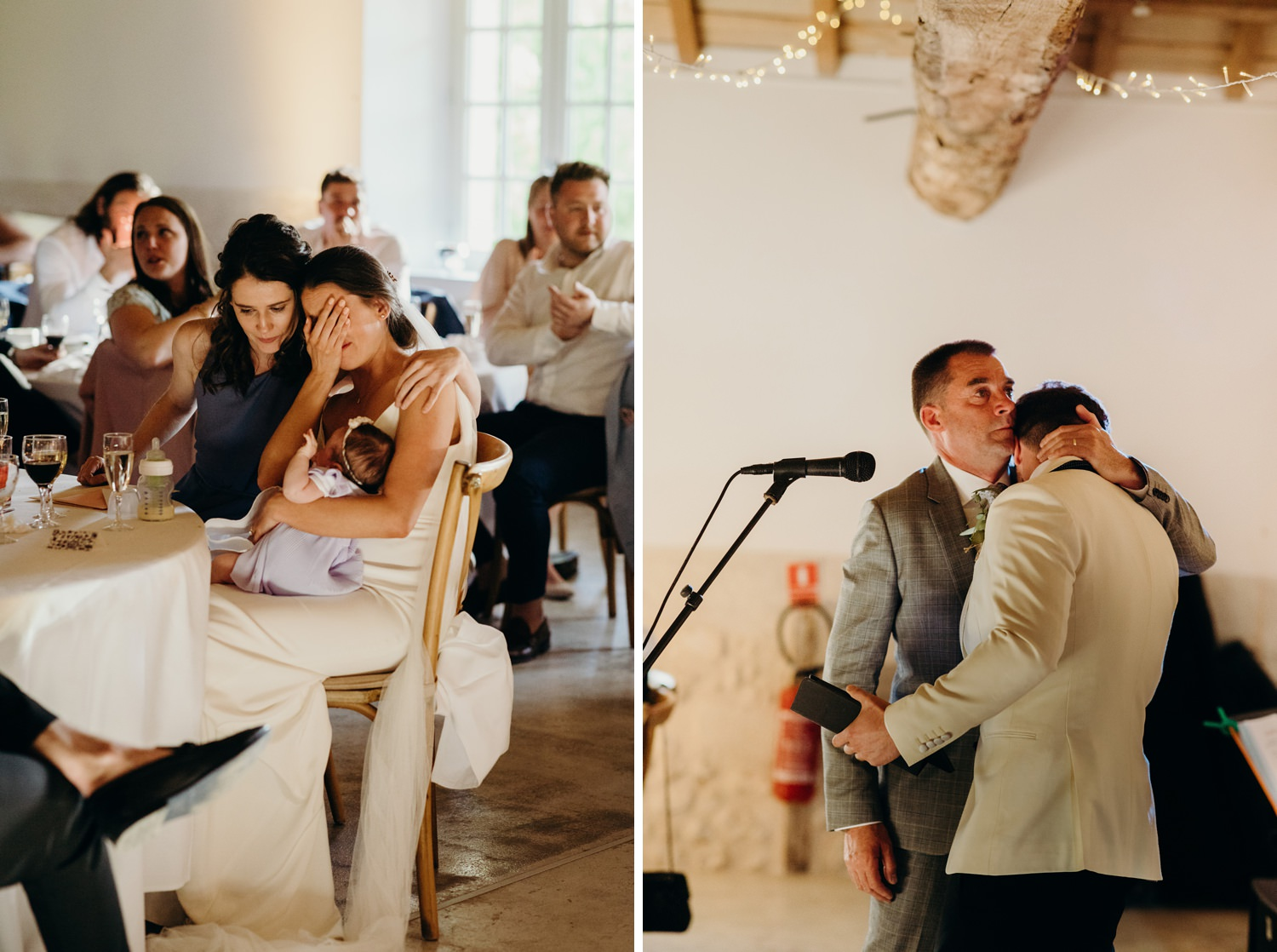 Father hugs son at wedding