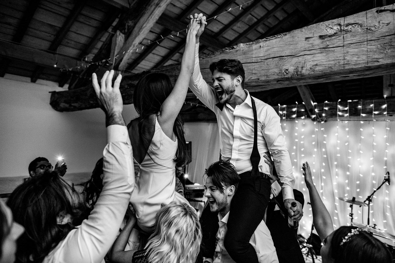 Bride and groom picked up on dancefloor
