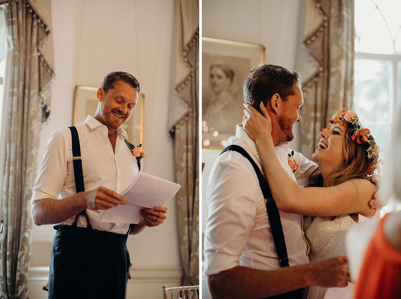 bride hugs grooms during speech