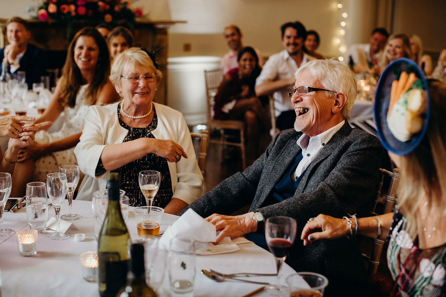 grandparents laughing during speeches
