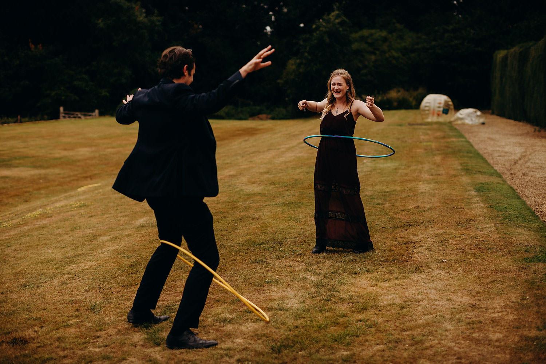guests playing games at wedding