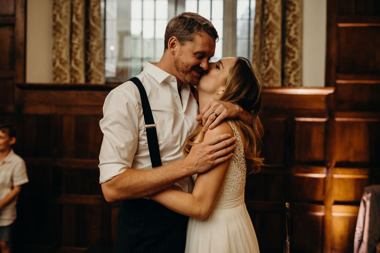 newly weds hug at somerset wedding