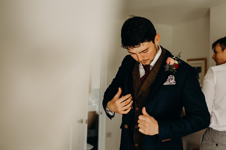 groom gets ready at devon wedding