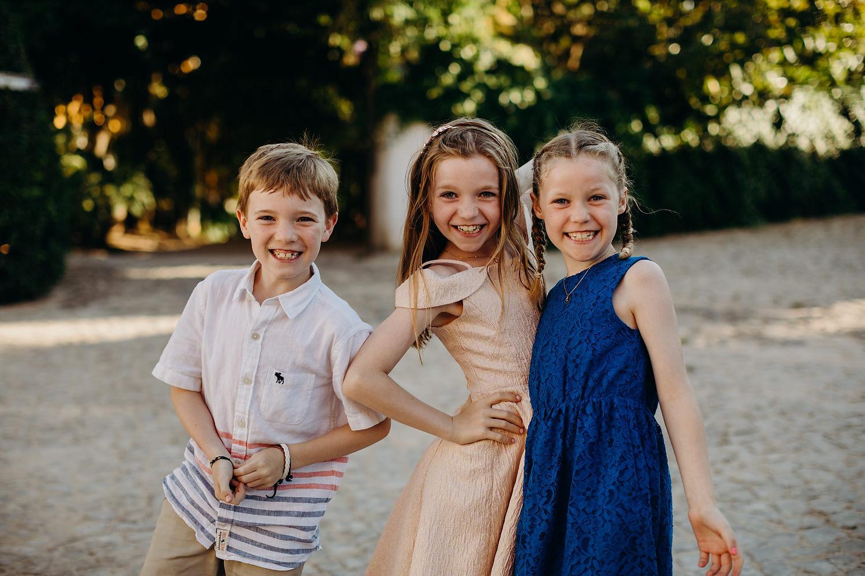 kids posing at Portugal destination wedding