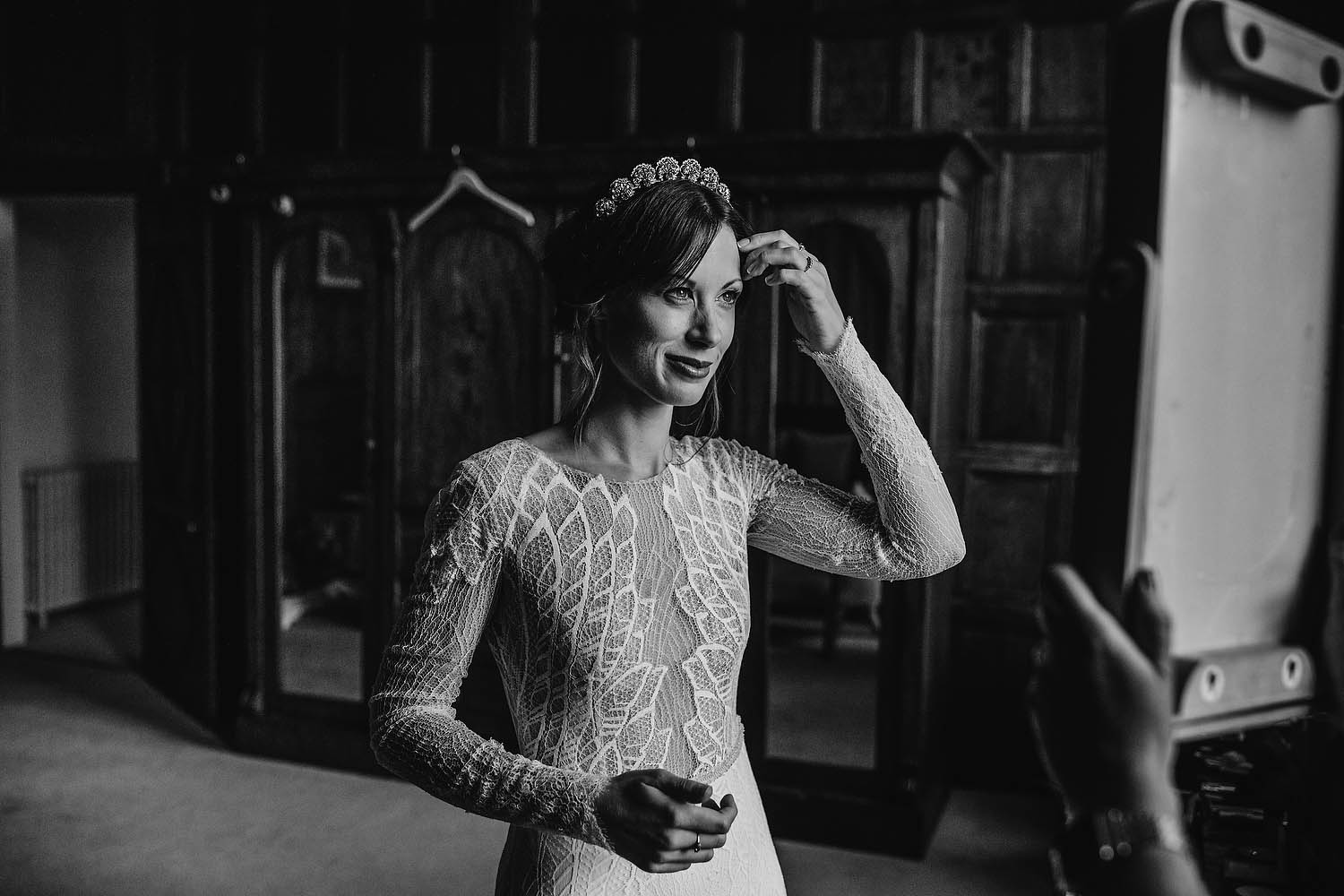 Bride getting ready at Elmore Court