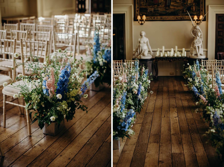 Wedding Flowers for indoor wedding ceremony