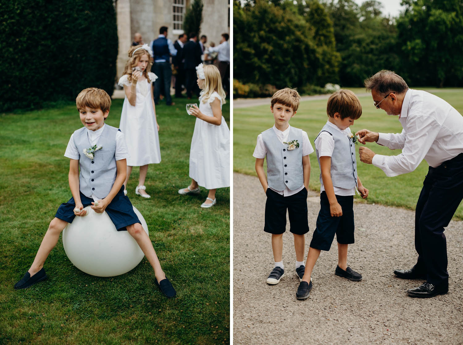 Kids play on space hoppers at wedding