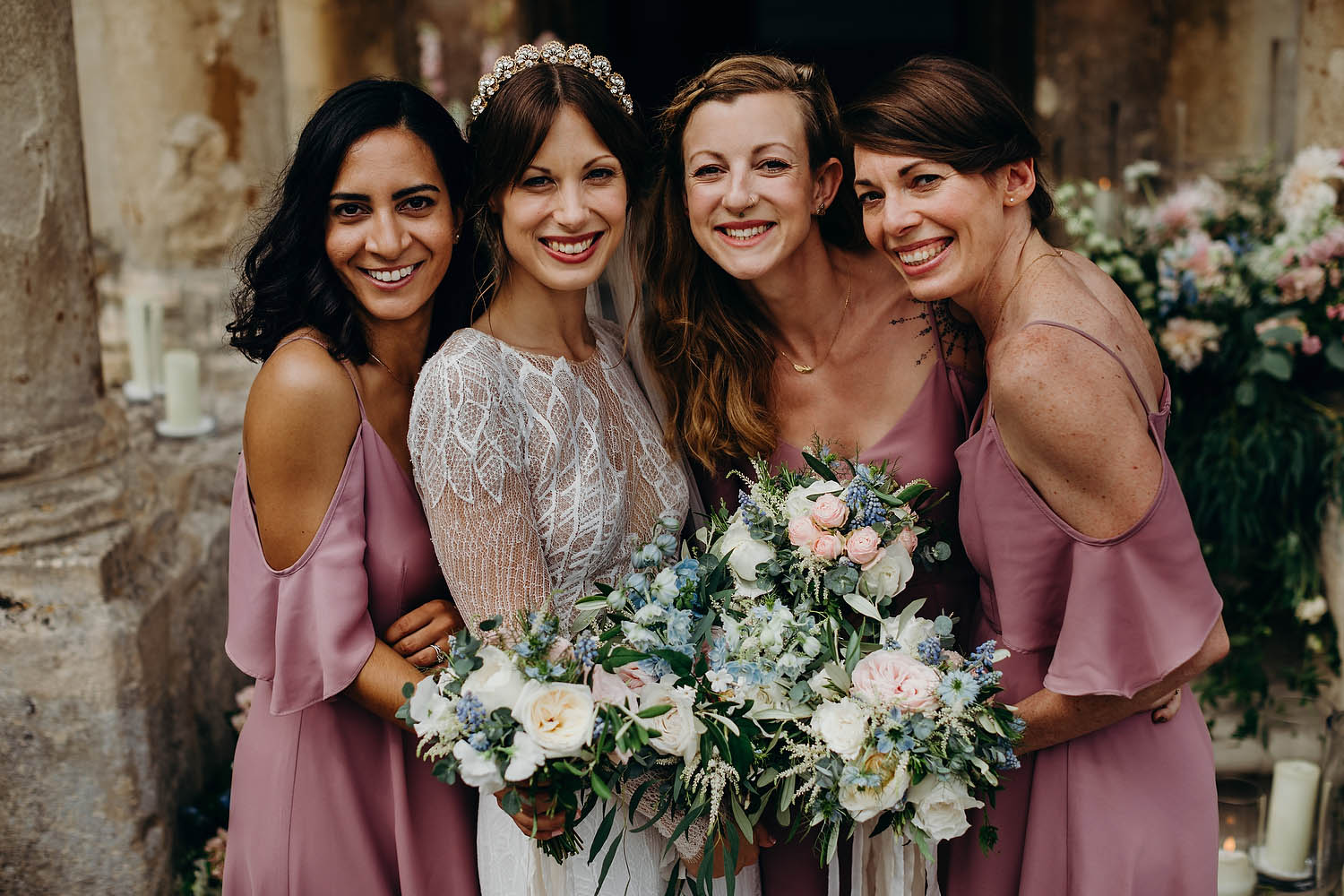 Bride with bridesmaids at Gloucestershire wedding