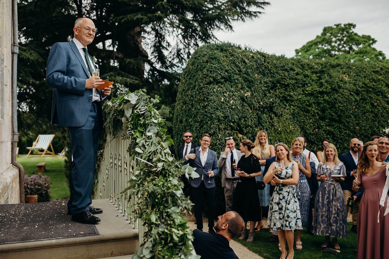outdoor wedding speech at elmore court