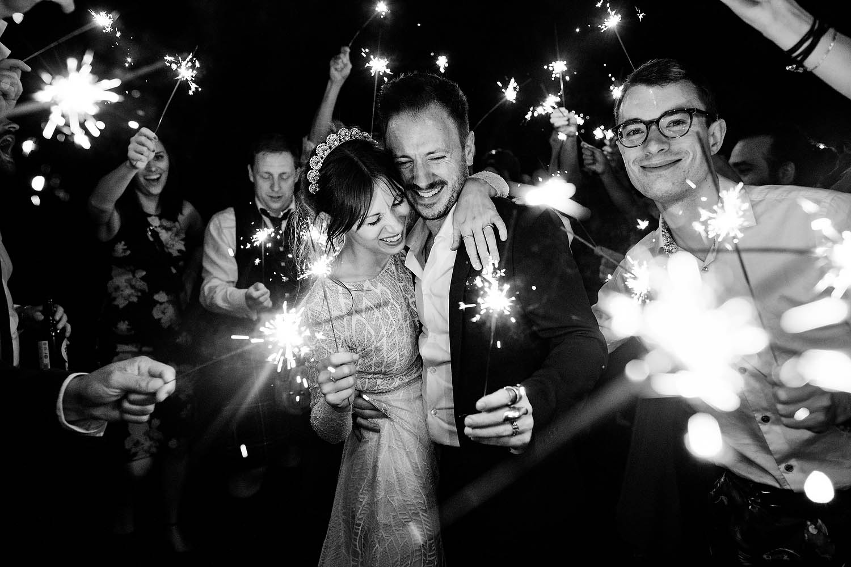 sparklers at Elmore Court wedding