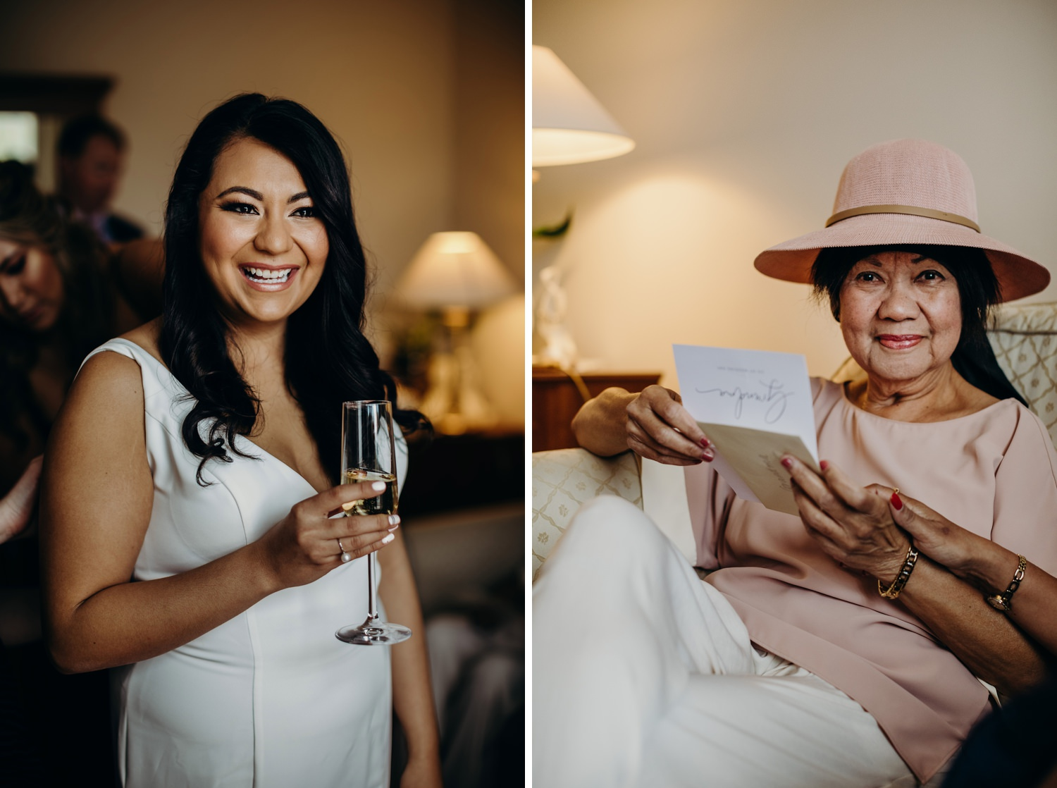 bride and grandmother as she reads a card