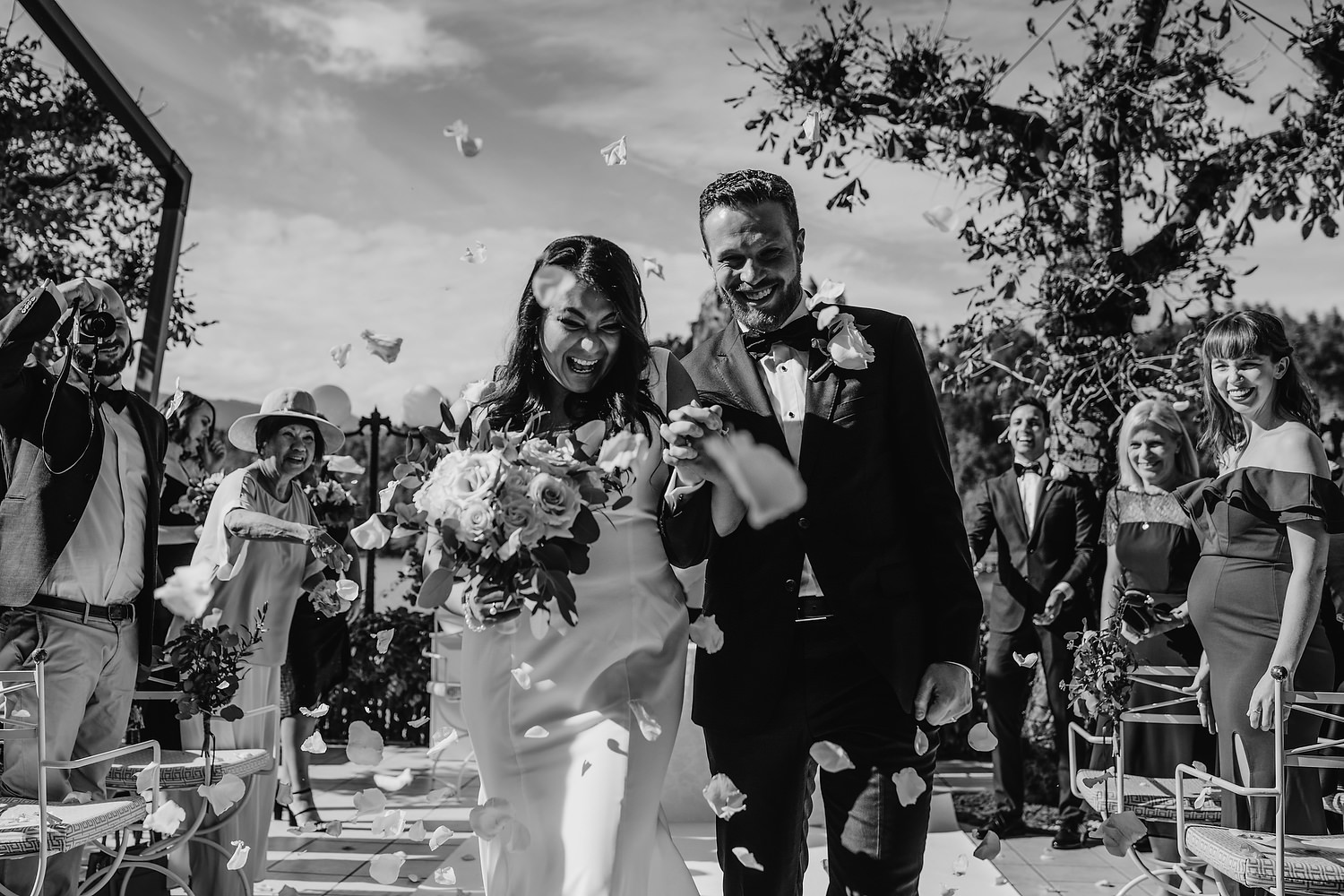 confetti photograph with bride and groom