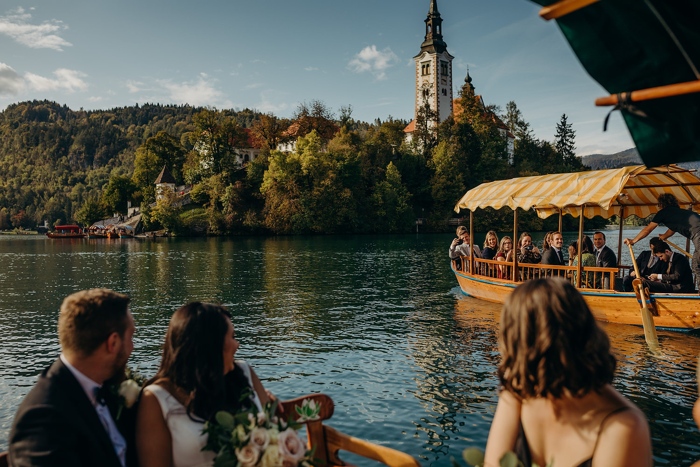 wedding boat trip across the lake
