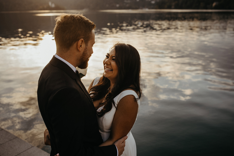 couple pose at Lake Bled