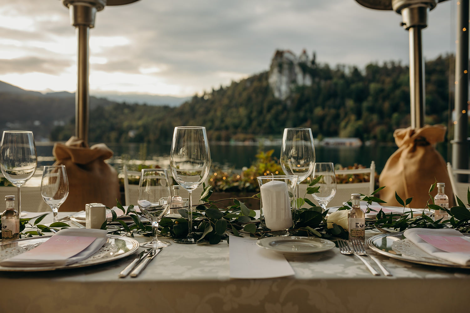 wedding table with Bled Castle in the background