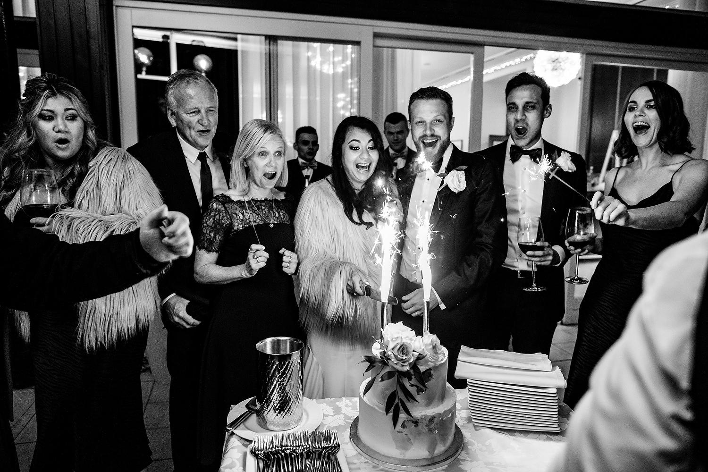 cake sparklers at wedding