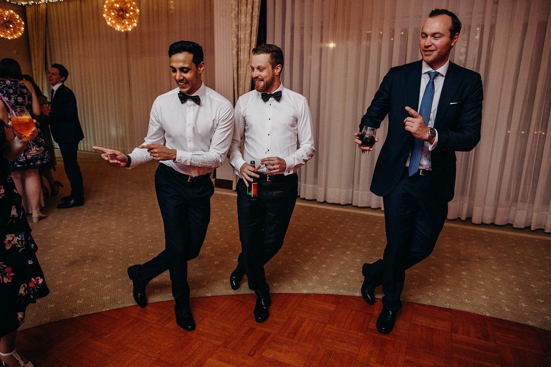 guys dancing at wedding
