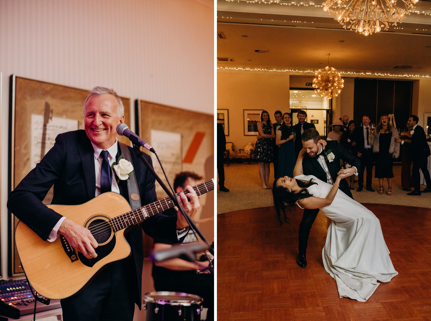 father of groom sings for couple