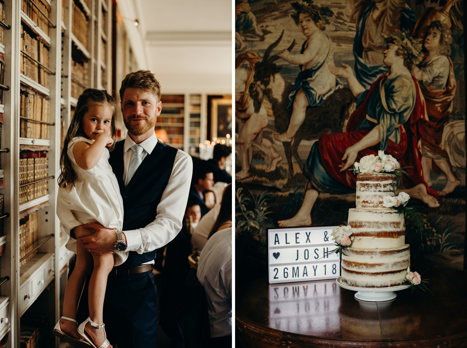 wedding cake with painting in background