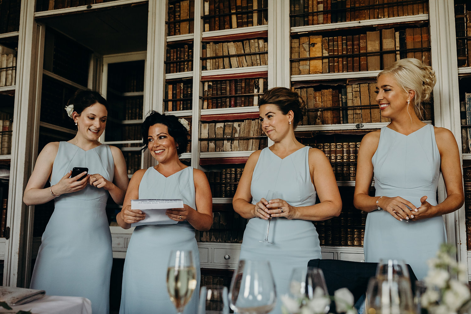 wedding speeches in library room