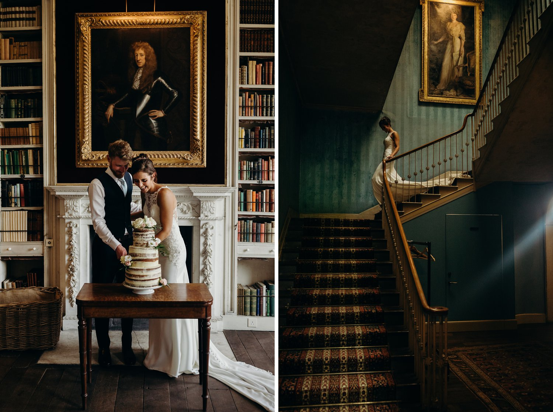 Bride walks down grand staircase