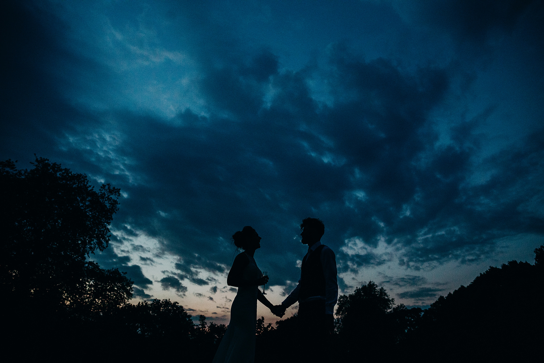 Twilight silhouette of couple