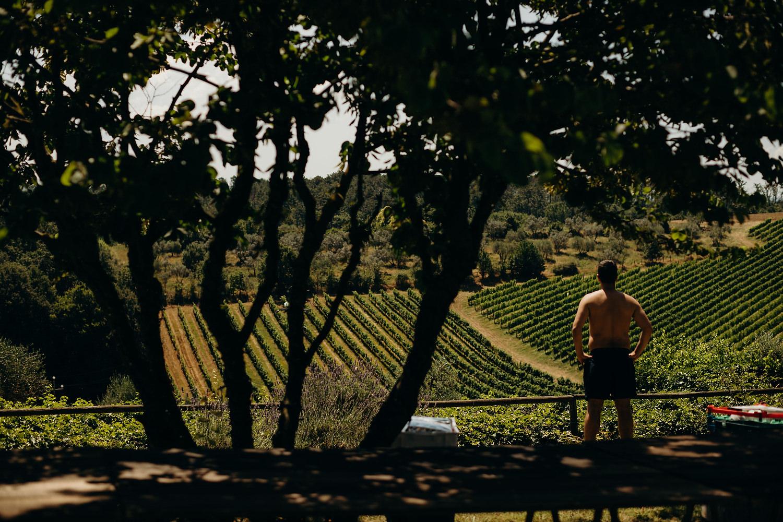 guest looking at vineyard