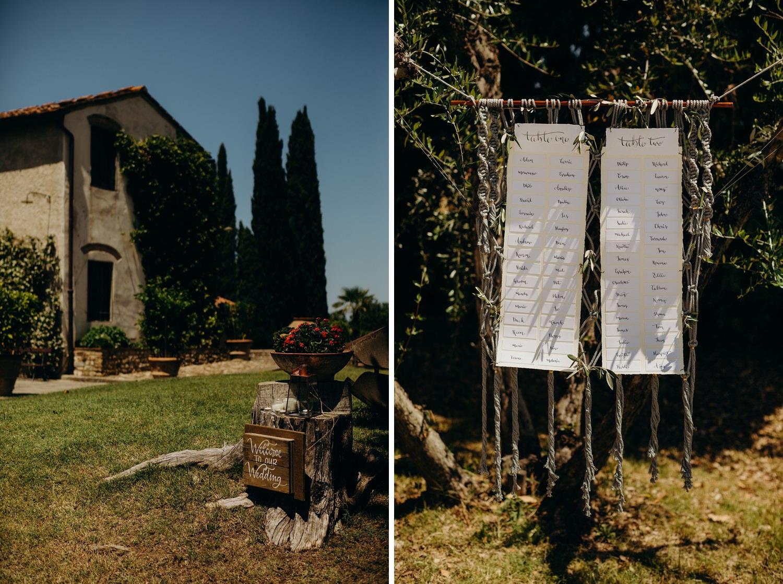 hanging wedding table plan
