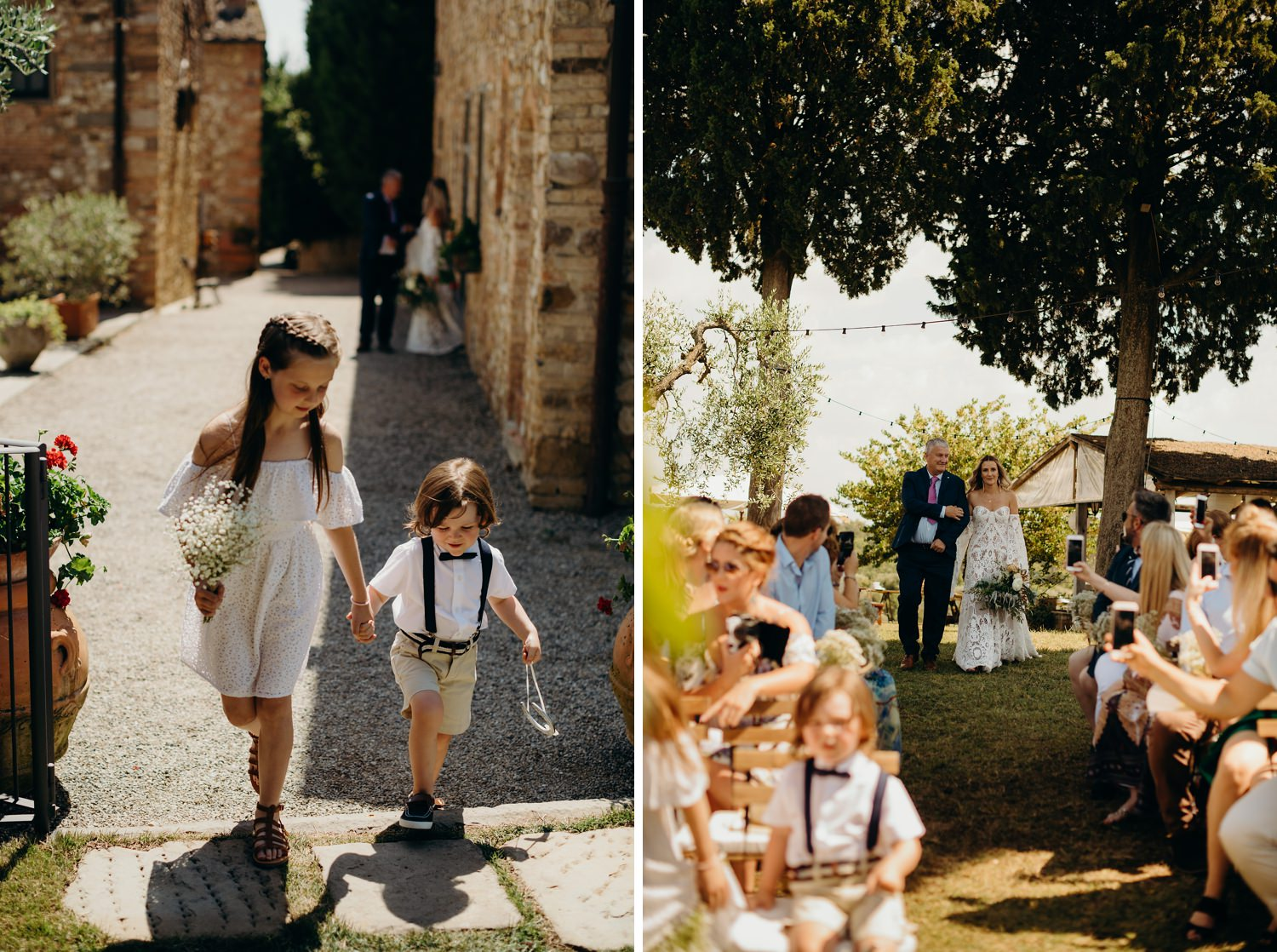 flower girl and page boy arrive to ceremony