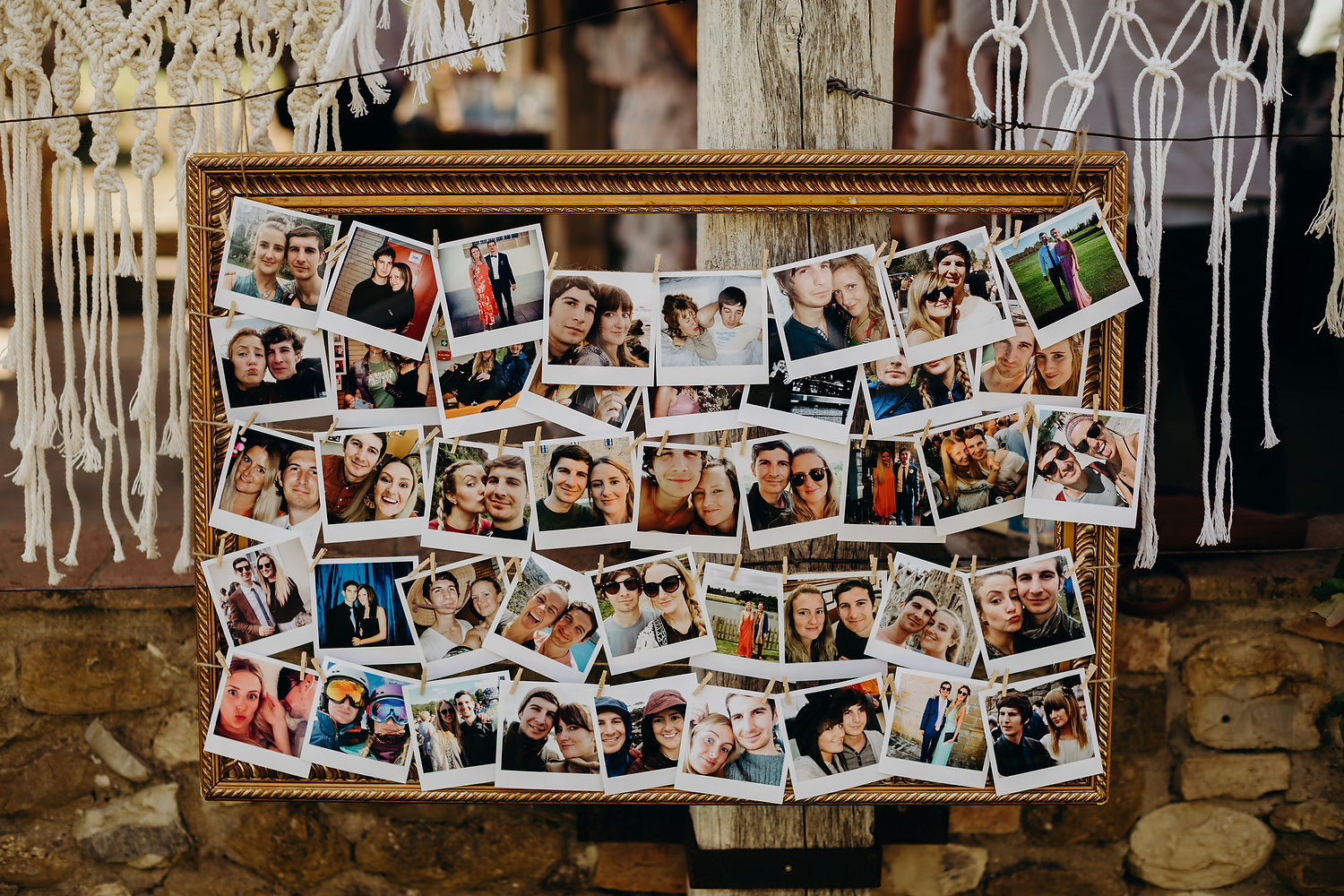 polaroids of bride and groom