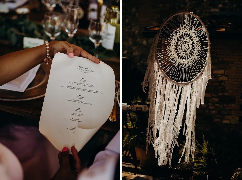 dinner menu at wedding