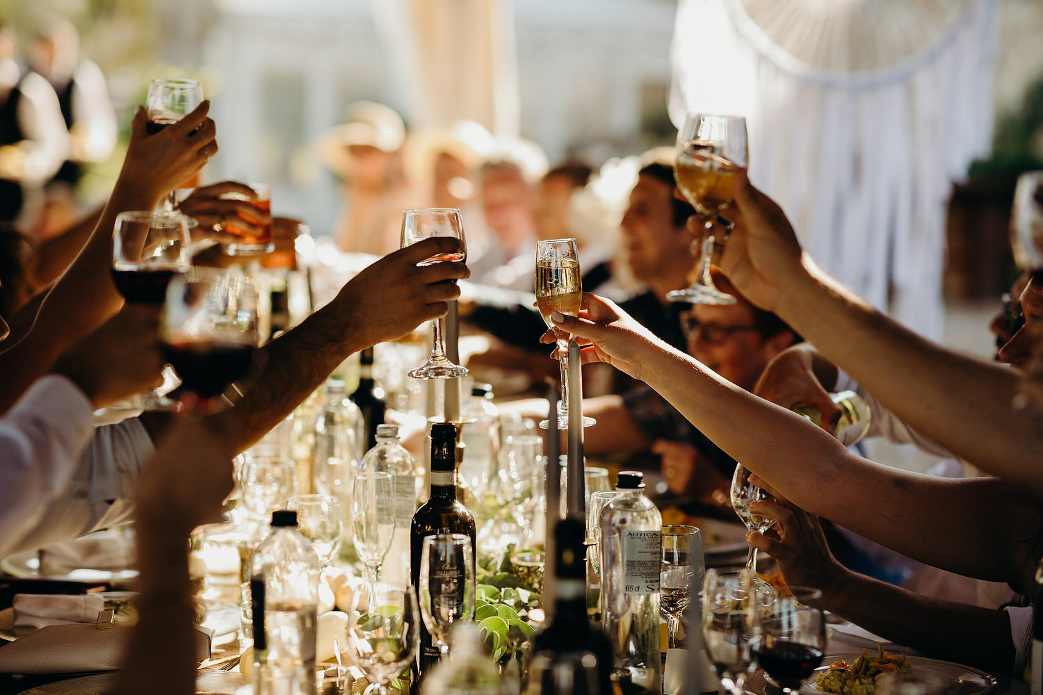 guests raising their glasses