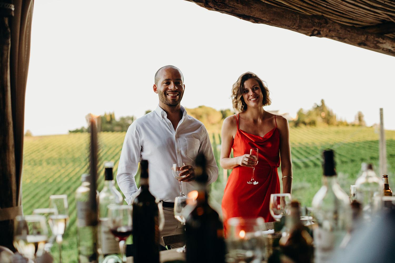 guests listen to speeches at Tuscan villa wedding