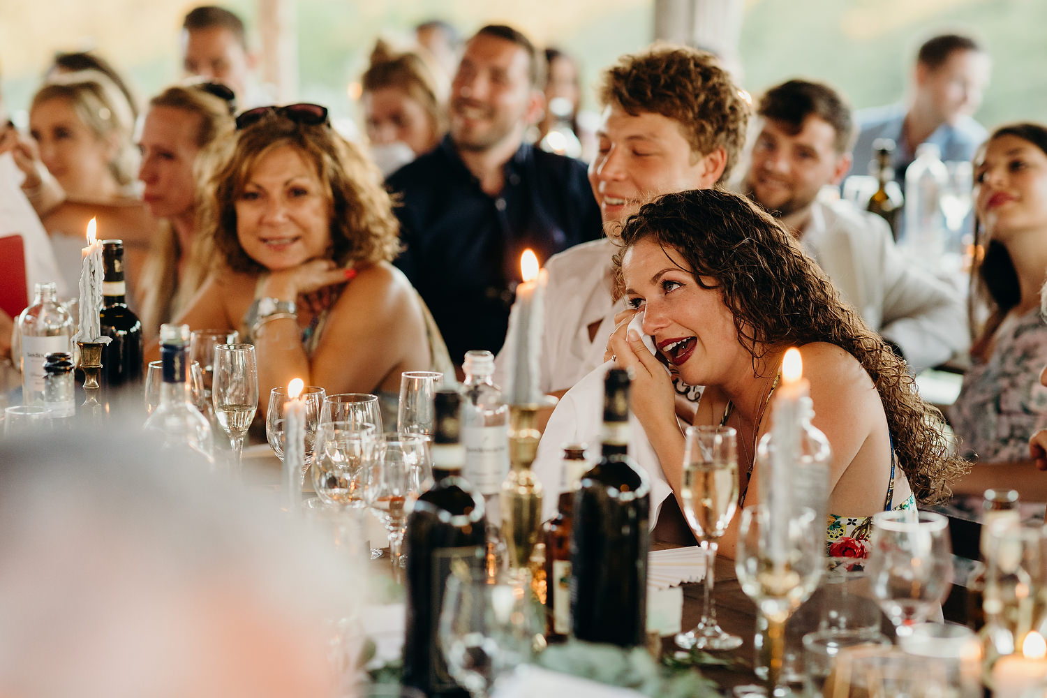 guests crying during wedding speeches