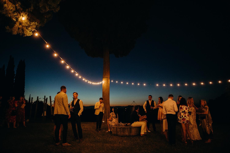 festoon lights at Tuscan Villa Wedding
